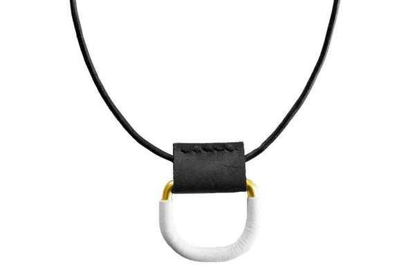 Leather Wrapped Short D Ring Necklace