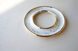 White + Gold Donut Dish