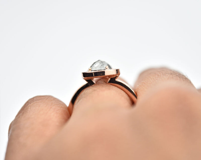 Salt & Pepper Halo Diamond Ring