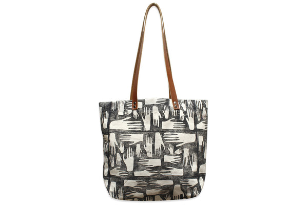 Hands Block Print Tote Bag