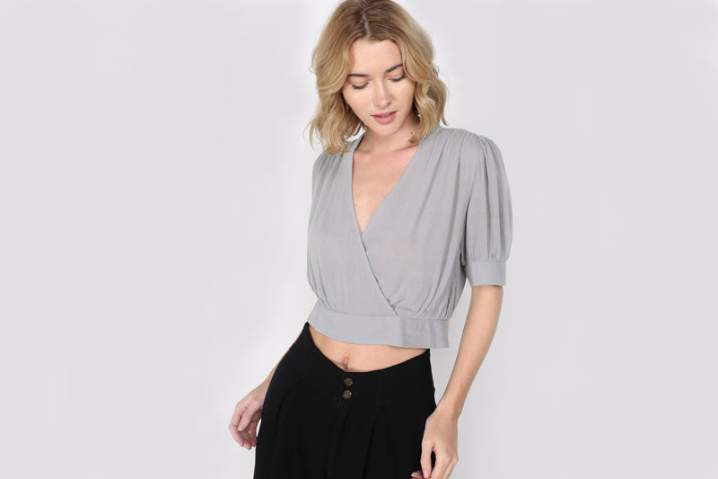 Ronnie Pleated Crop Blouse