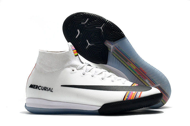 "Chuteira Nike Mercurial Superfly 6 Elite IC ""Lvl Up"" Branco/Colorido"