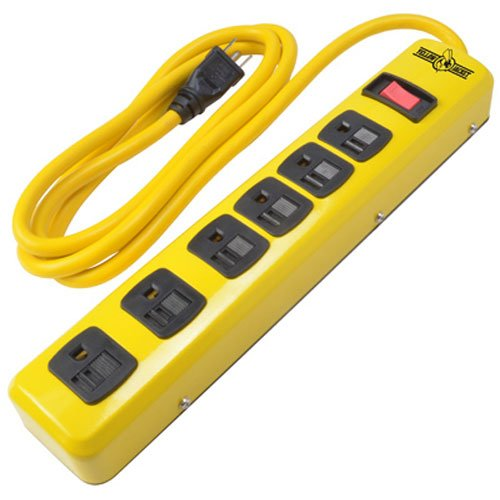 Yellow Jacket 5139N Metal Power Strip w/ 6 Outlets and 6 Foot Cord, Yellow