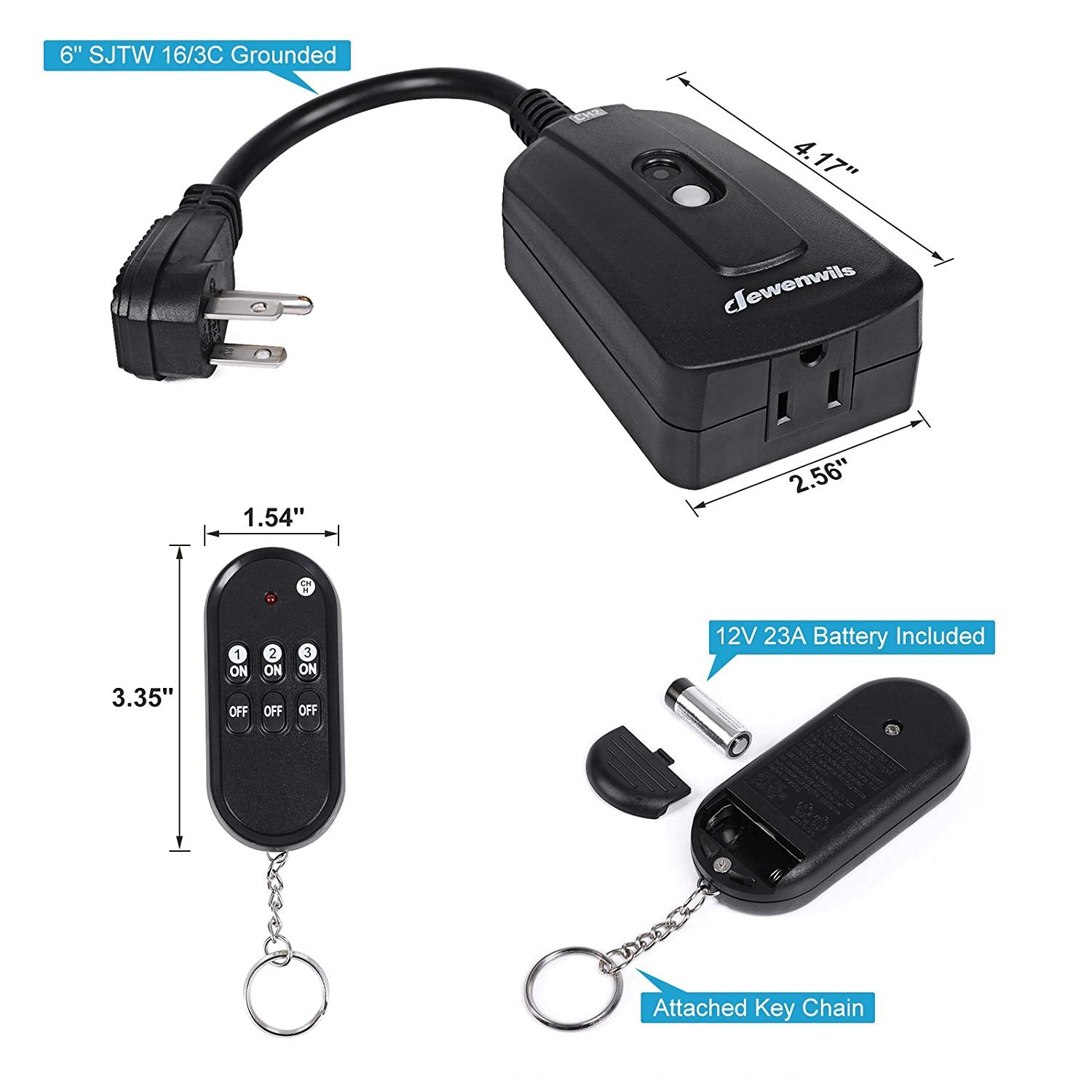 DEWENWILS Outdoor Indoor Wireless Remote Control Outlet Kit