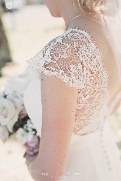 French lace detail on a Peony Rice wedding gown