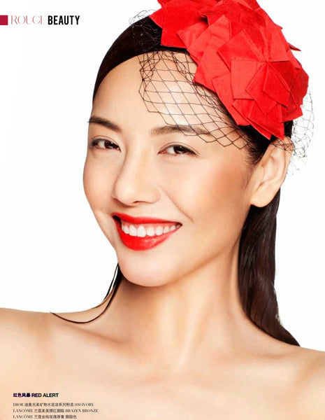 Chinese female actress 杨紫嫣 Yang Fan Han wearing a peony rice enya red silk head topping for a beauty editorial