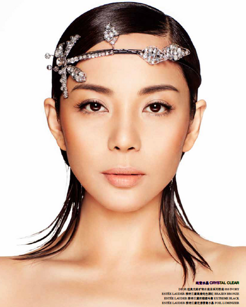 杨紫嫣 Yang Fan Han wearing a dragon fly Crystal head band for a beauty editorial