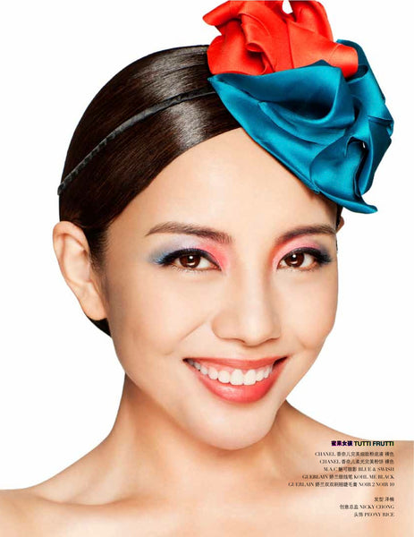 Chinese actress 杨紫嫣 Yang Fan Han wear a Peony Rice red and teal silk head topping called Eva