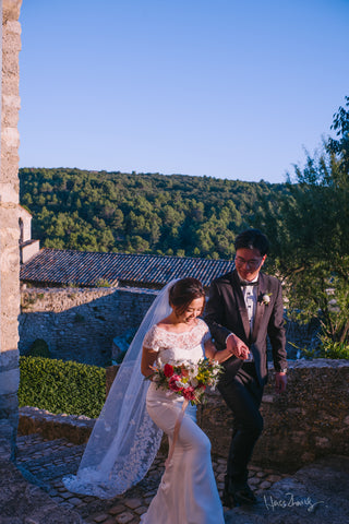 Peony Rice Chinese bride and groom in Provence France for wedding photos