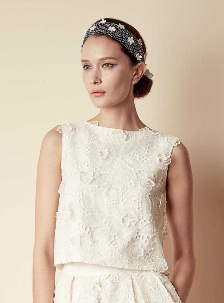 Style: JEMIMA Large Floral Embellished Sequin And Pearl Half Veil Wrap - Peony Rice