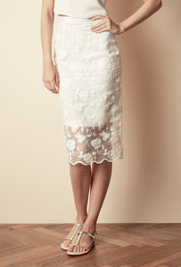 Style: ALICIA Floral Embroidered Scallop Edge Pencil Skirt - Peony Rice