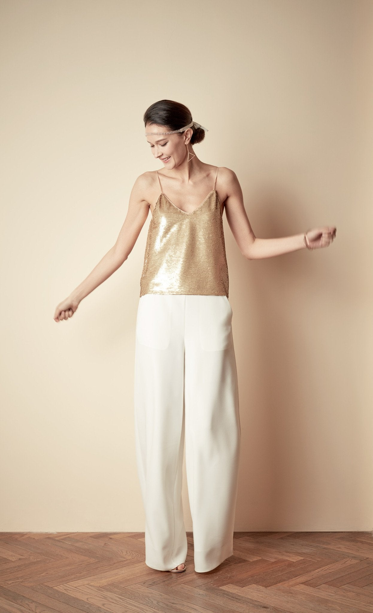 Style: PIPA GOLD Sequin Cami - Peony Rice