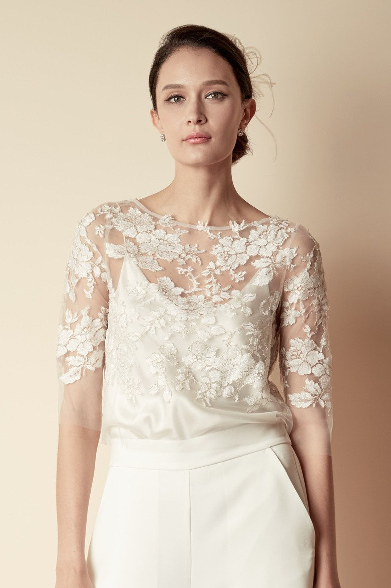 Style: HILARY French Metallic Lace Appliqué Top - Peony Rice