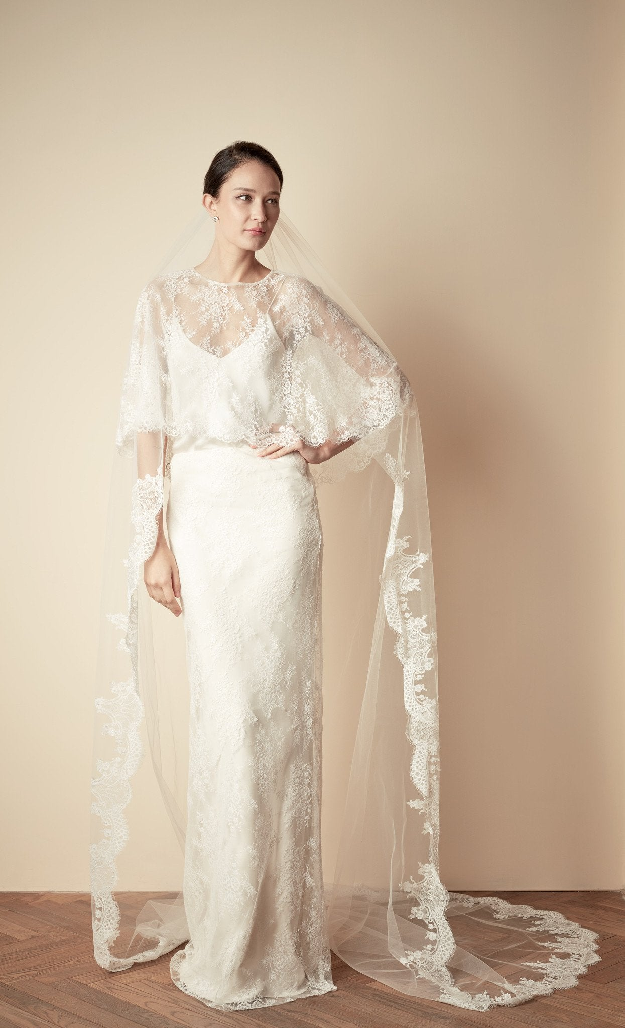 STYLE: JOCELYN Lace & Beaded Cathedral Veil - Peony Rice