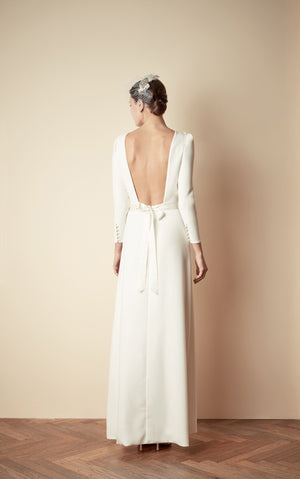 Style: FRANCES Long Sleeve Square Back A-line Gown - Peony Rice