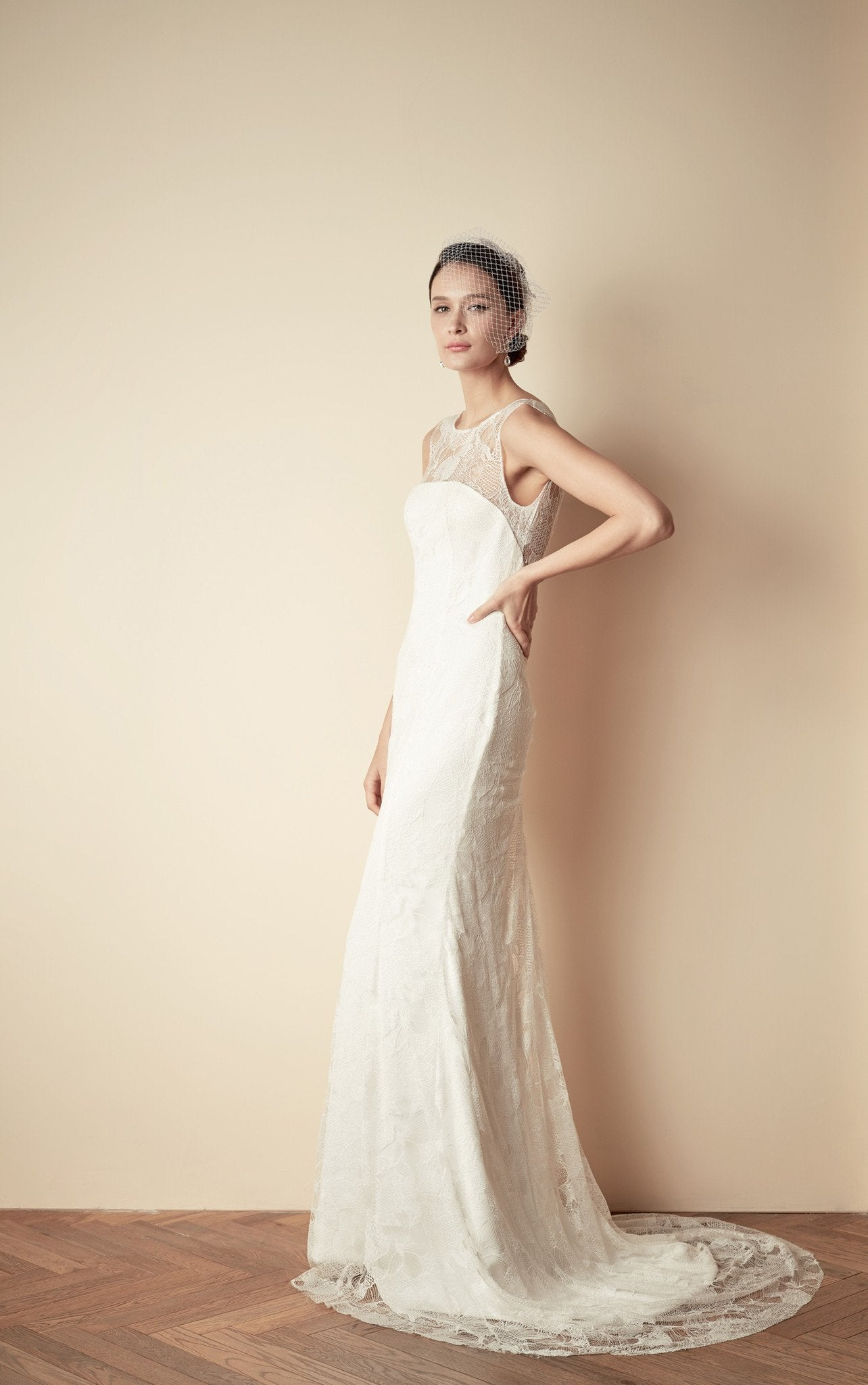 Style: TALIA Crepe & Lace Bandeau Open Back Fishtail Gown - Peony Rice