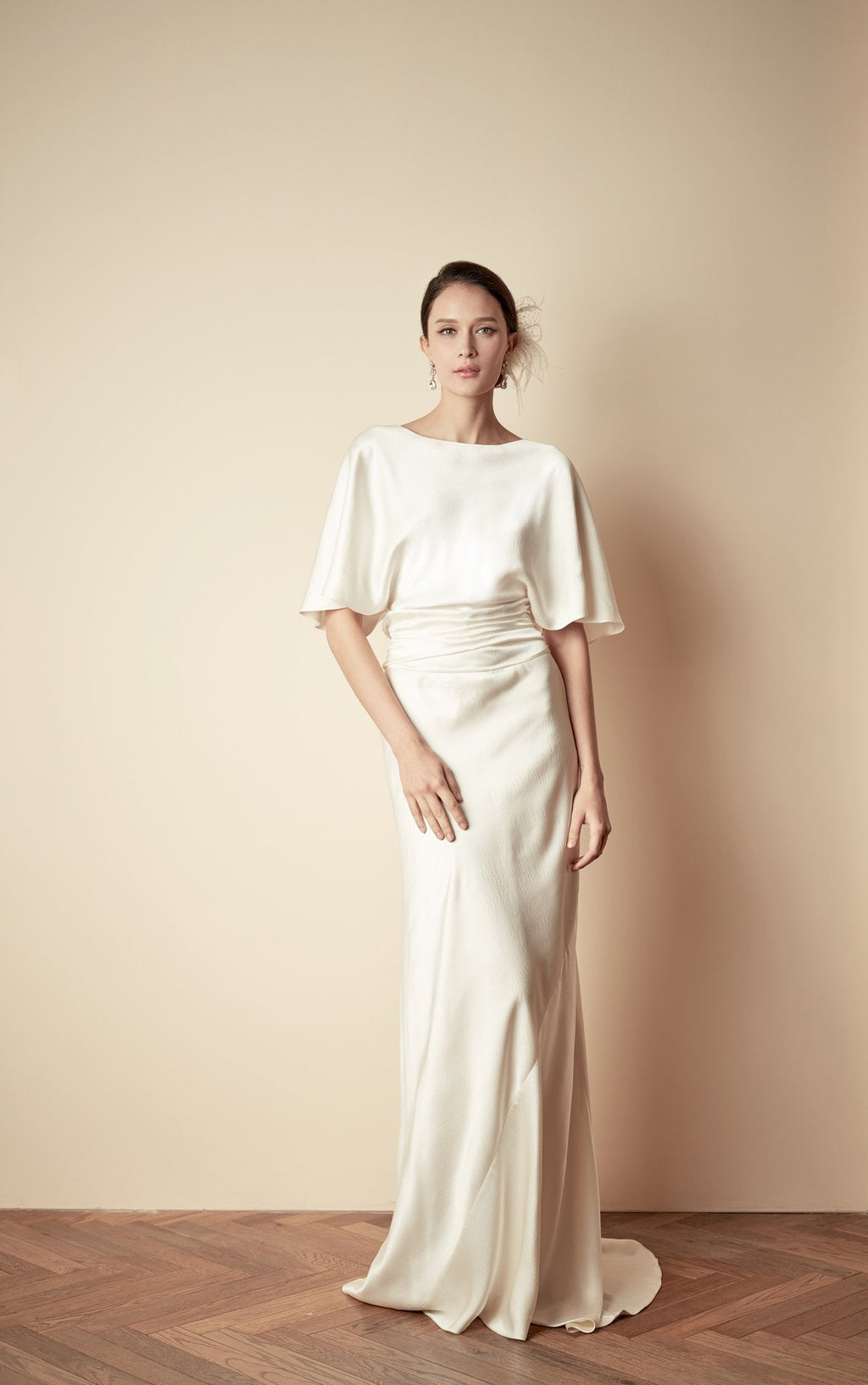 Style: GLORIA Hammered Silk Draped Sleeve Gown with Ruched Waistband - Peony Rice