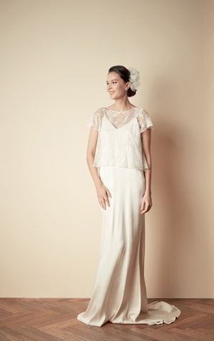 Style: JOAN Silk V-back Maxi Slip & JACKIE Iris Lace A-line Swing Top Combo - Peony Rice