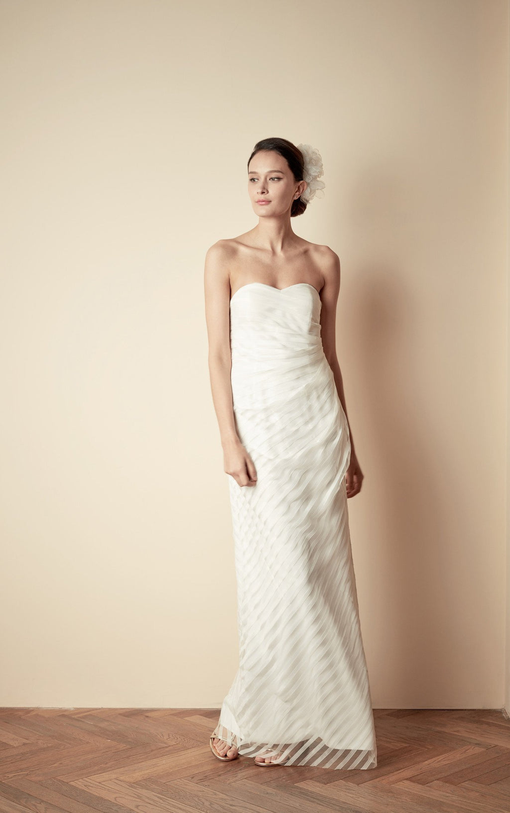 Style: FAYE Stripe Lace Tulle Bandeau Side Draped Gown - Peony Rice