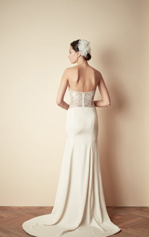 Style: TINA Cut Out Lace Panel Bandeau Dress with Fluted Hem - Peony Rice
