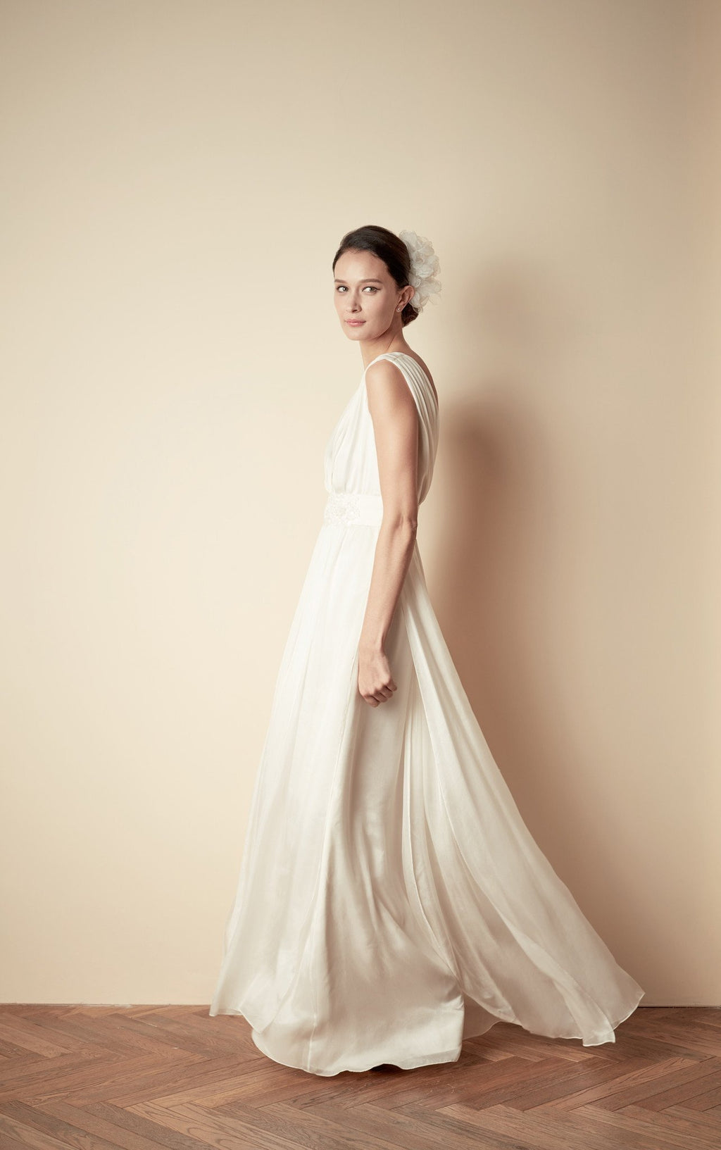 Style: JEANNE Silk Mousseline Hand Pleated Deep V Gown - Peony Rice