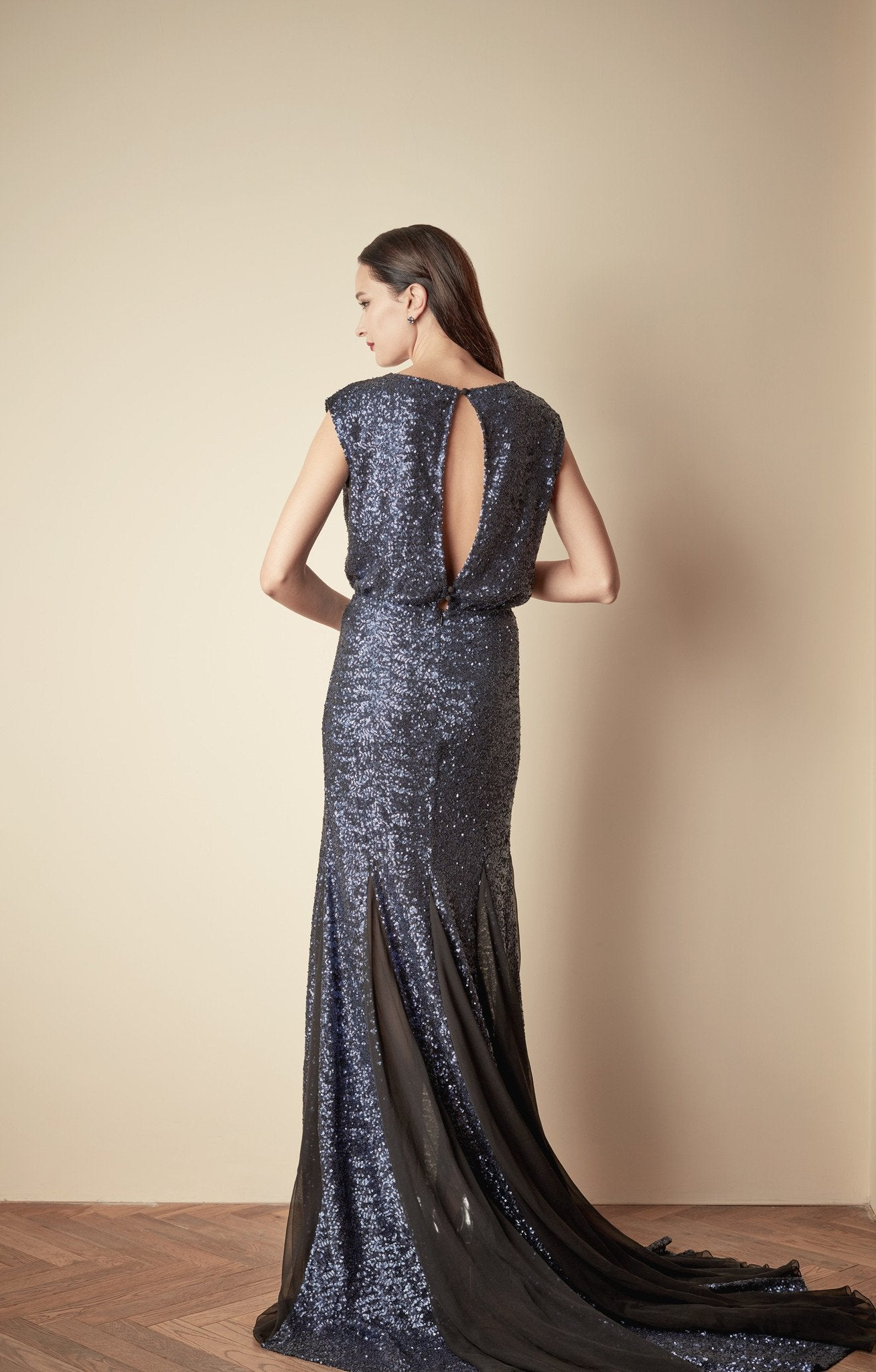 Style: JULES Sequin Fishtail Gown with Open Back - Peony Rice