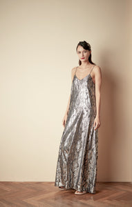 Style: JOSEPHINE A-Line Metallic Deco Pattern Spaghetti Strap Gown - Peony Rice