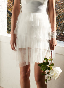 Style: THIERRY Layered Pleated Tulle Skirt - Peony Rice