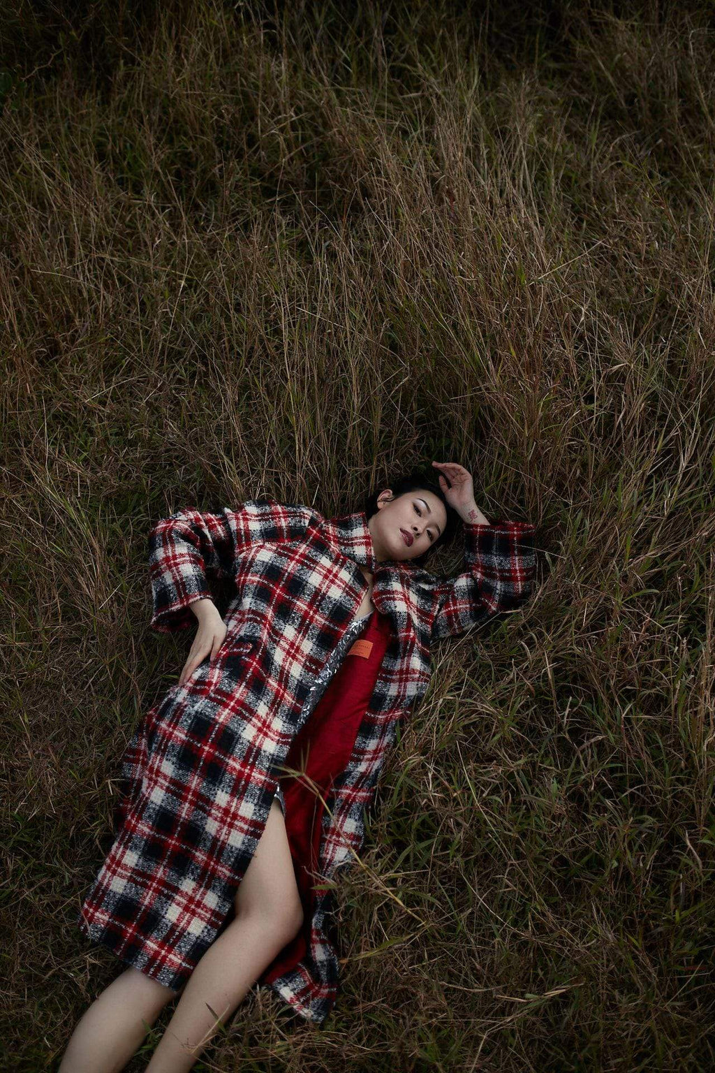 Style: MANSFIELD Oversized Plaid Coat - Peony Rice