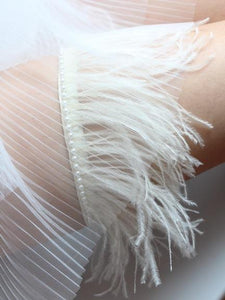 Style #7  Dramatic Garter Trimmed with Faux Pearls - Peony Rice