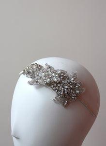 Style: IMOGENE Crystal Flower Embellished Head Topping - Peony Rice