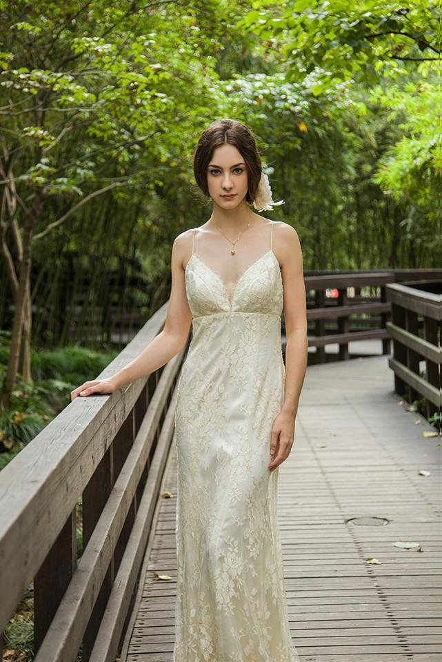 Style: JULIANNA Gold Metallic Lace Spaghetti Gown - Peony Rice