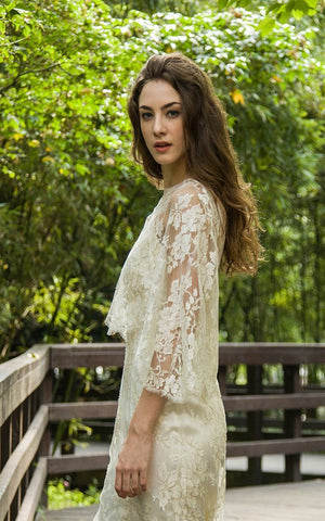 Style: CASSEY METALLIC French Metallic Gold Lace Poncho - Peony Rice
