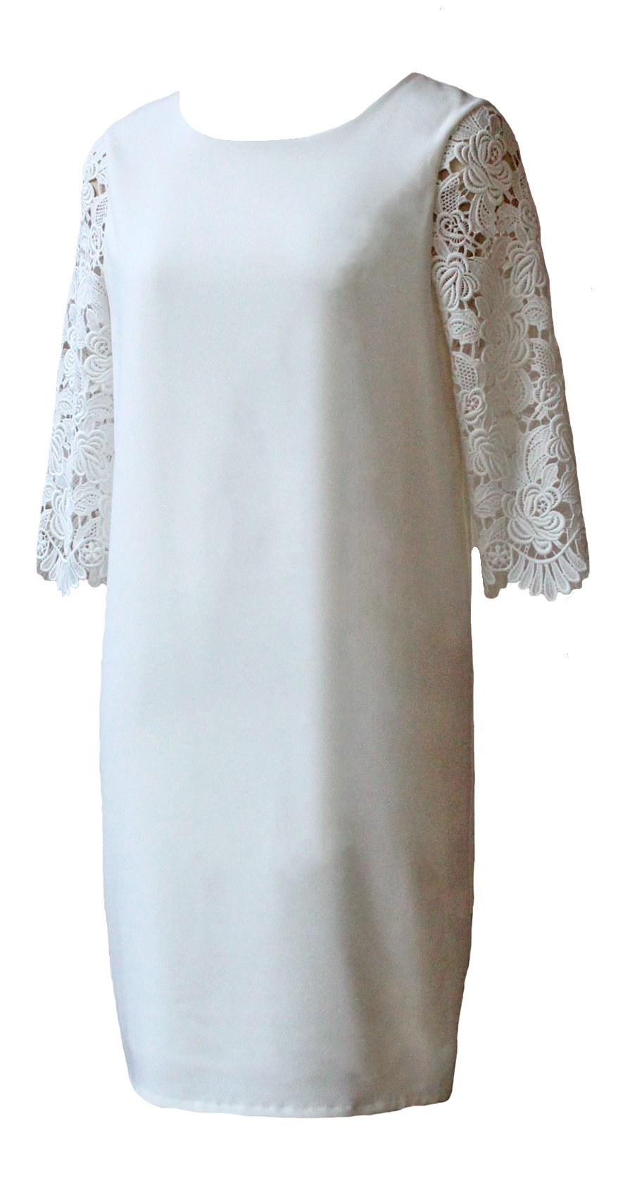 Style: SADE Guipere Lace Sleeve Shift Dress - Peony Rice