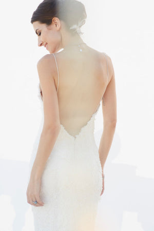 Bride wearing Low Cut V Back Lace & Bead Applique Wedding Gown back view