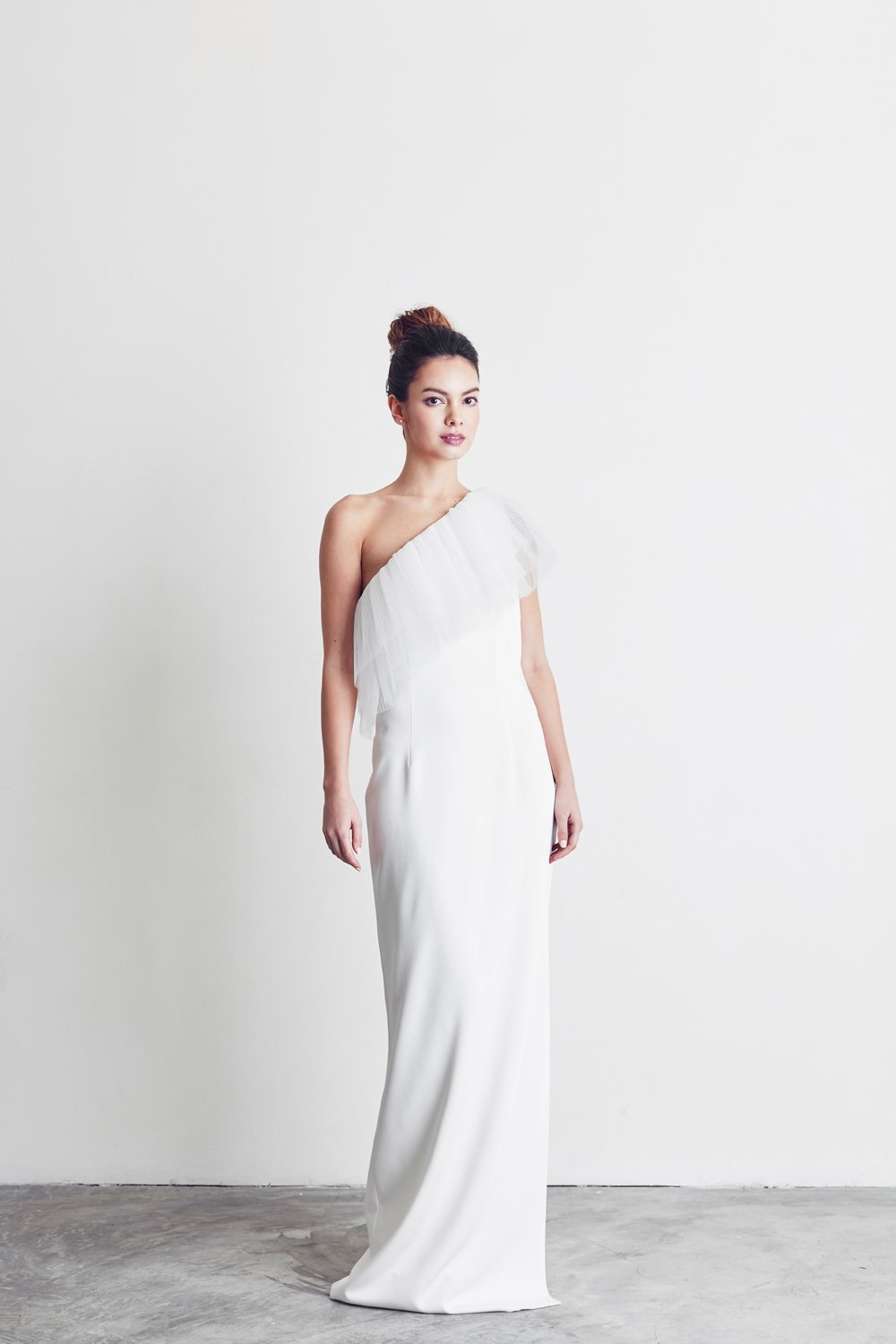 Style: DIANE One Shoulder Column Gown with Pleated Tulle Trim - Peony Rice