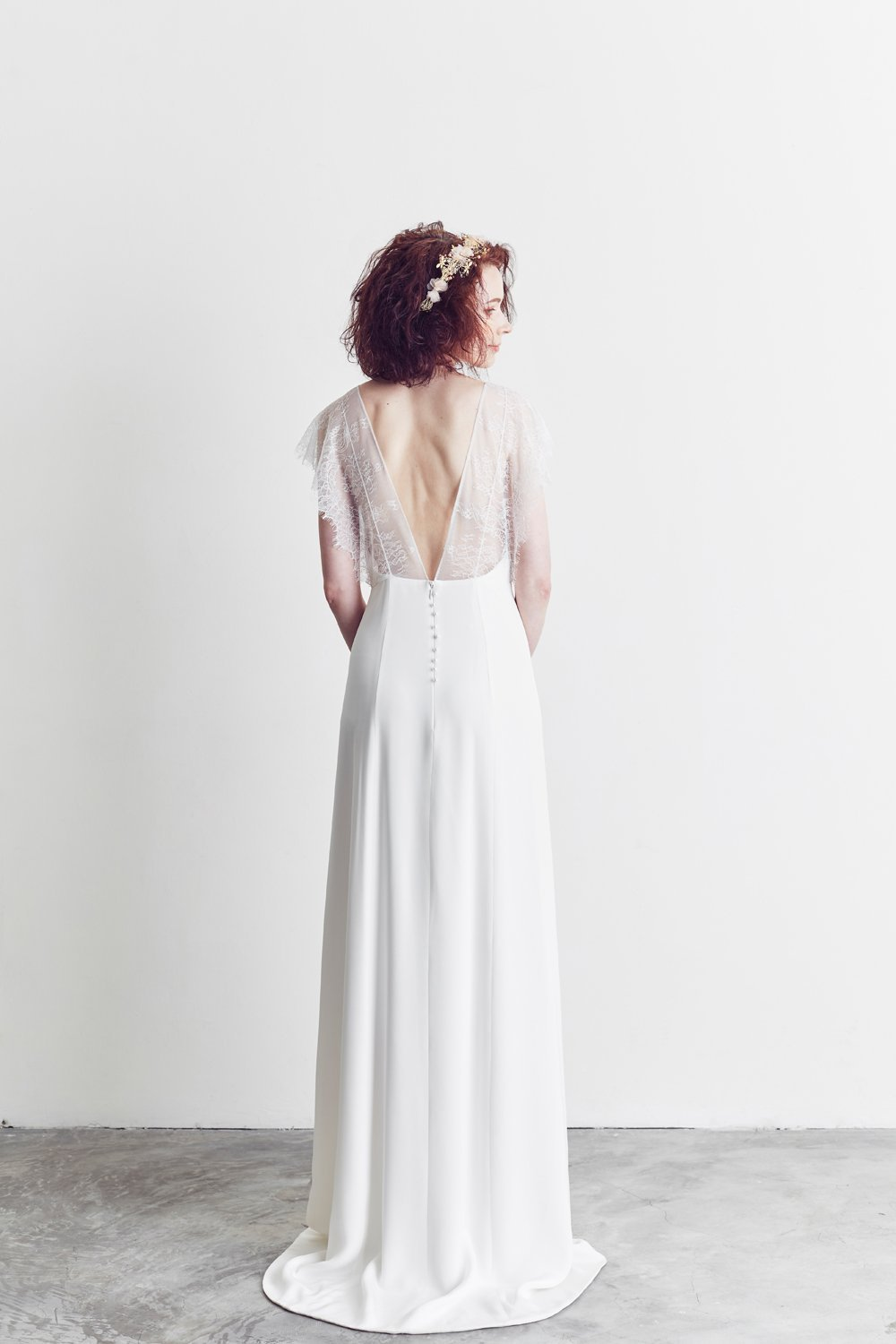 Style: KIERA A-line Silk Slip Gown with Lace Cape Sleeves - Peony Rice