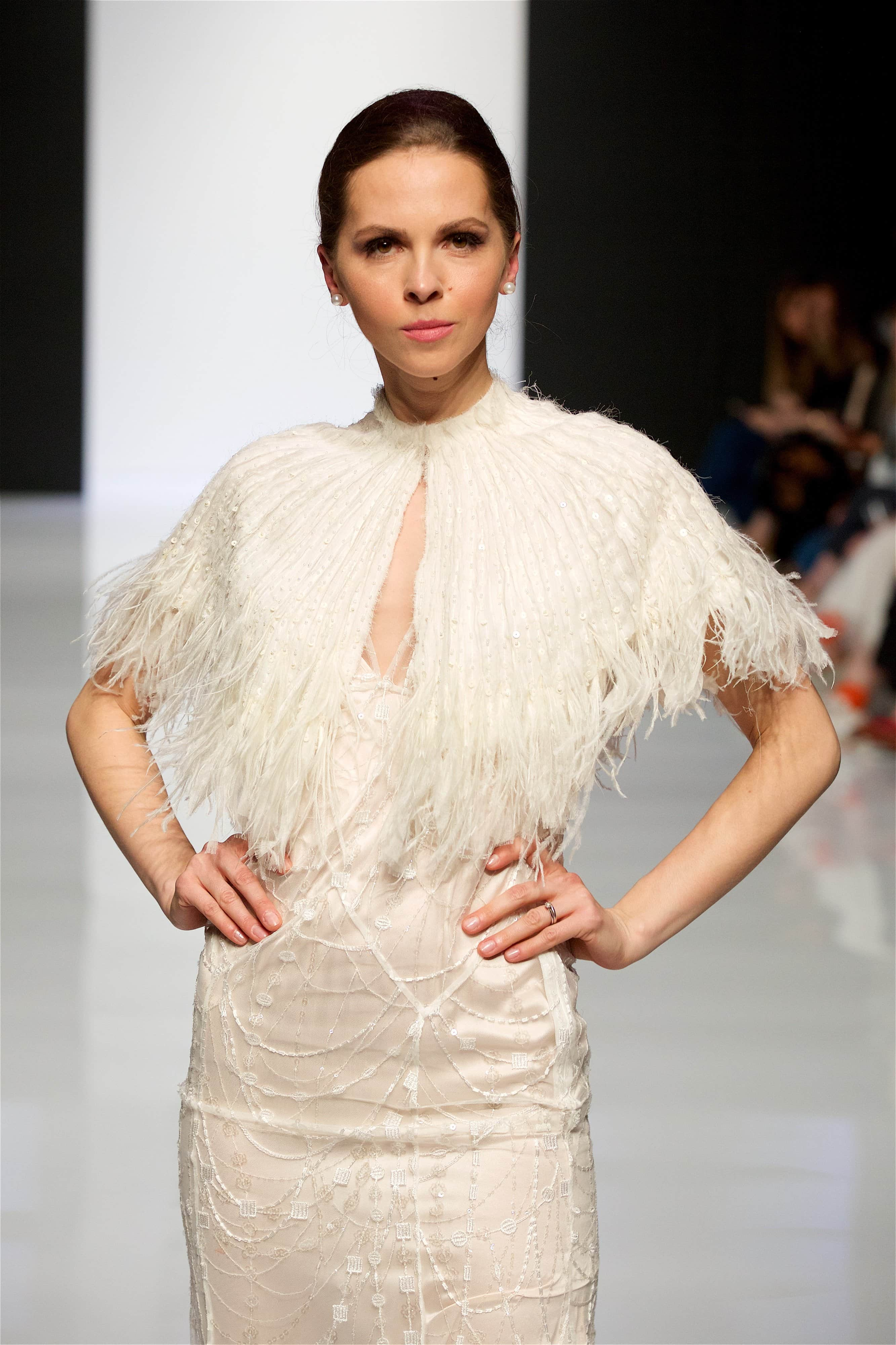 Style: CARA FEATHER Ostrich trimmed Beaded Silk Capelet - Peony Rice