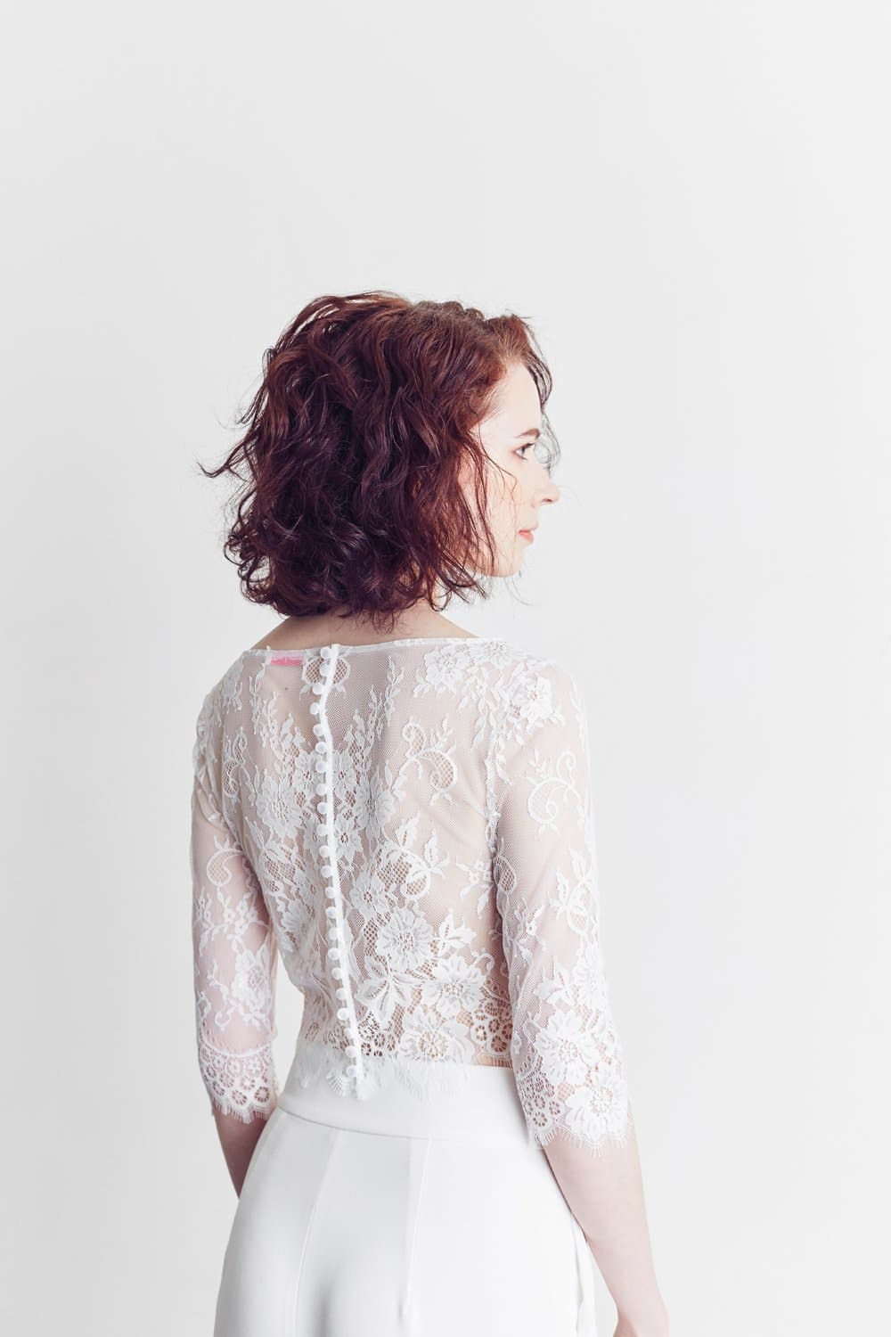 Style: CELESTE Illusion Lace Top - Peony Rice
