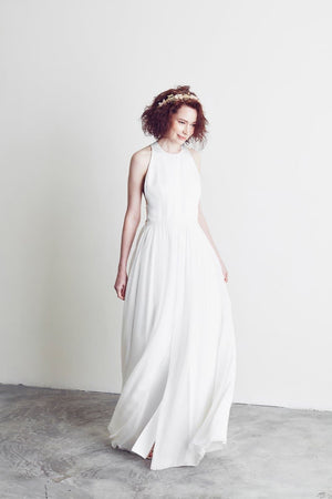 Style: DEETA Jewel Neck Illusion Back A- Line Silk Gown - Peony Rice