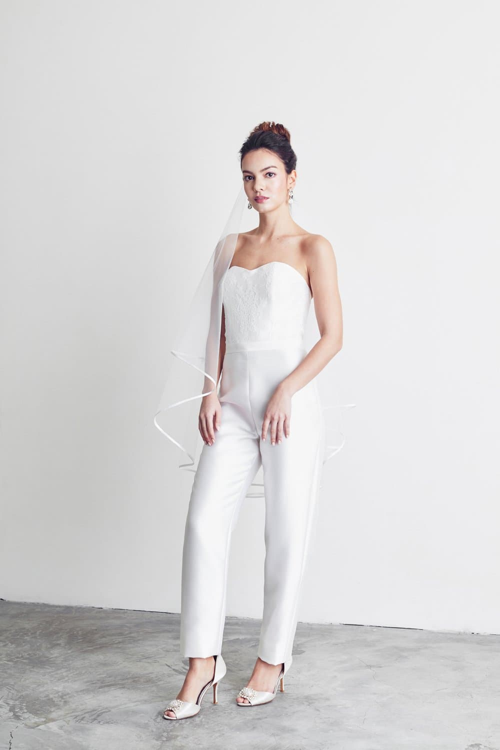 Style: DIA Silk Wool and Lace Bandeau Jumpsuit - Peony Rice