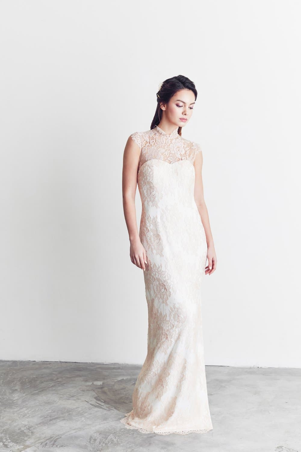 Style: FARRAH French Lace Qi Pao Illusion Gown - Peony Rice