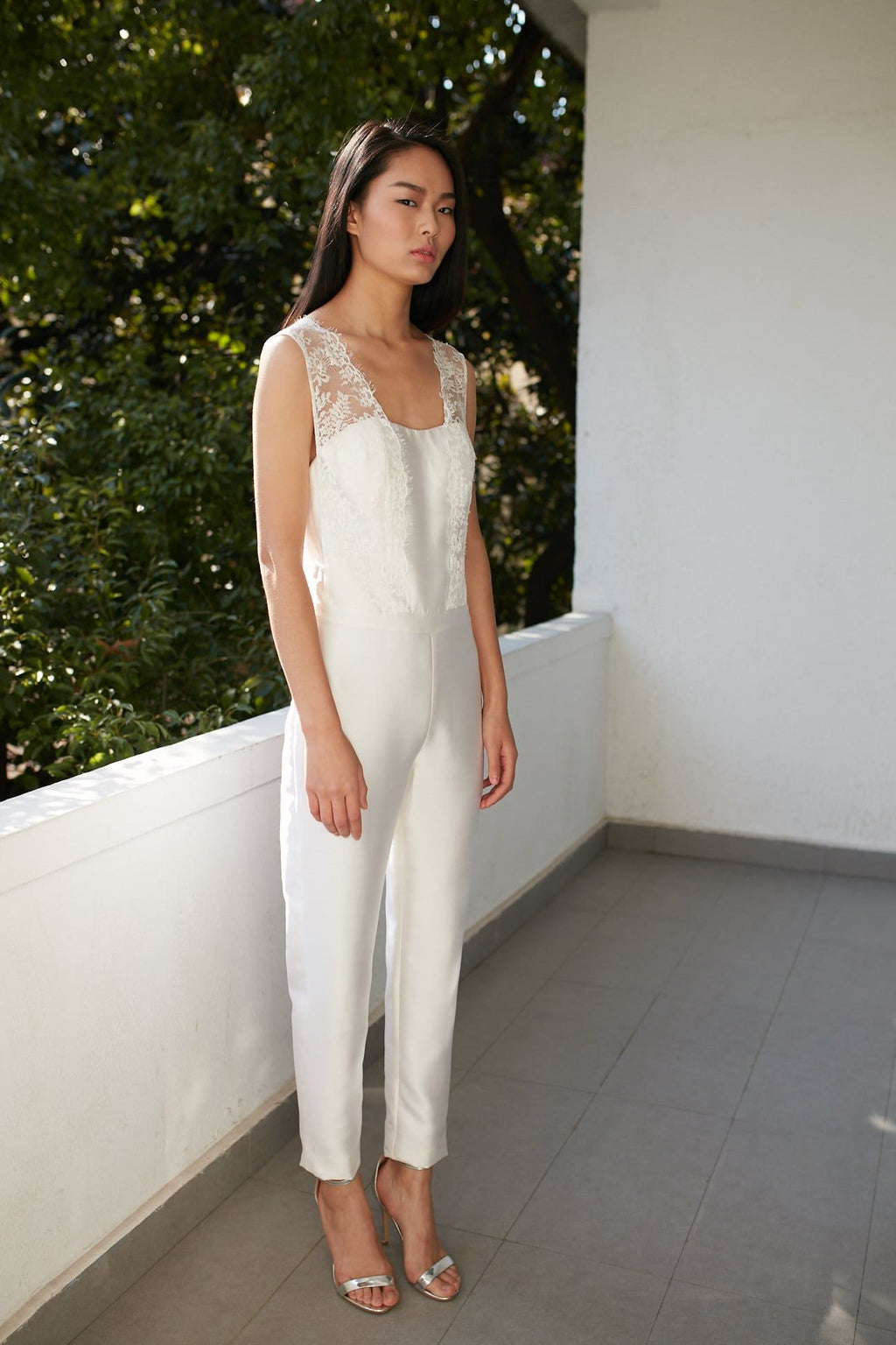 Style: GEMMA Silk Bandeau Bridal Jumpsuit with Stephanotis lace straps - Peony Rice