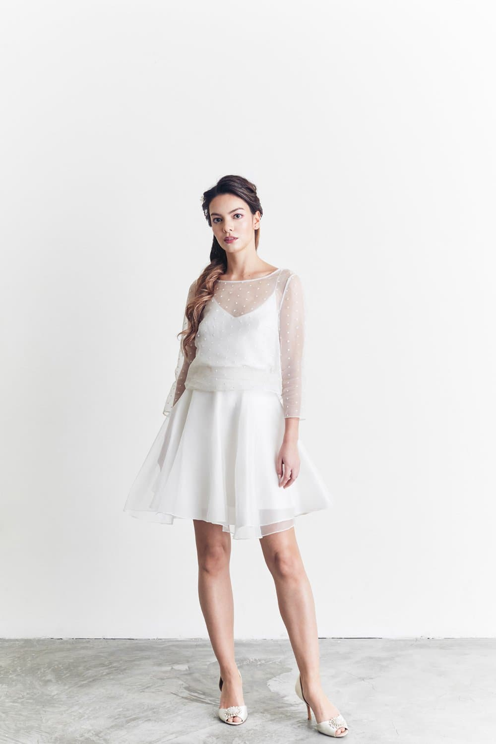 Style: KARA Embroidered Polka Silk Organza Top - Peony Rice