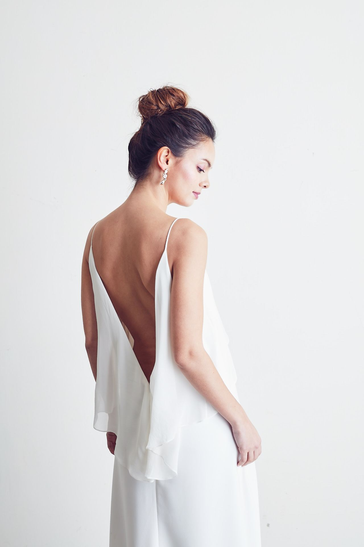 Style: KATIE V-back Silk Georgette Layered A -Line Gown - Peony Rice