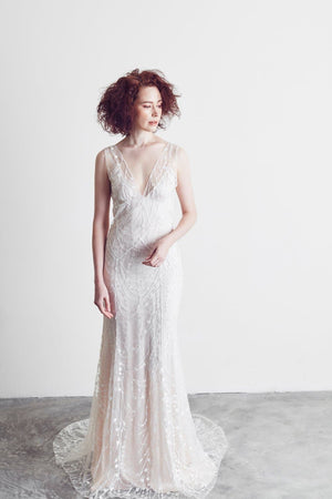 Style: LAILA 2 in 1 COSMIC Embroidered Lace Deep V- Gown with Seam Detail - Peony Rice
