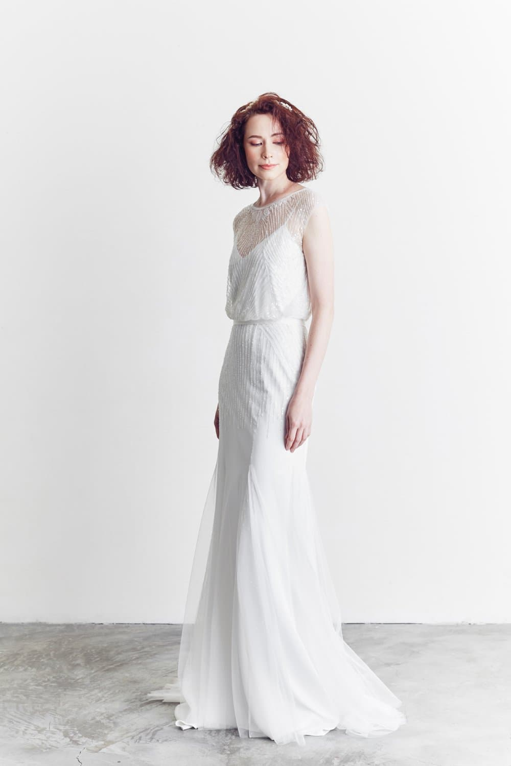 Style: SOFIA 2 in 1 Deco Embellished Gown with Inner Slip - Peony Rice