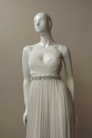 Style: MARIA Art Deco Crystal and Pearl Cross Satin Tie Belt - Peony Rice