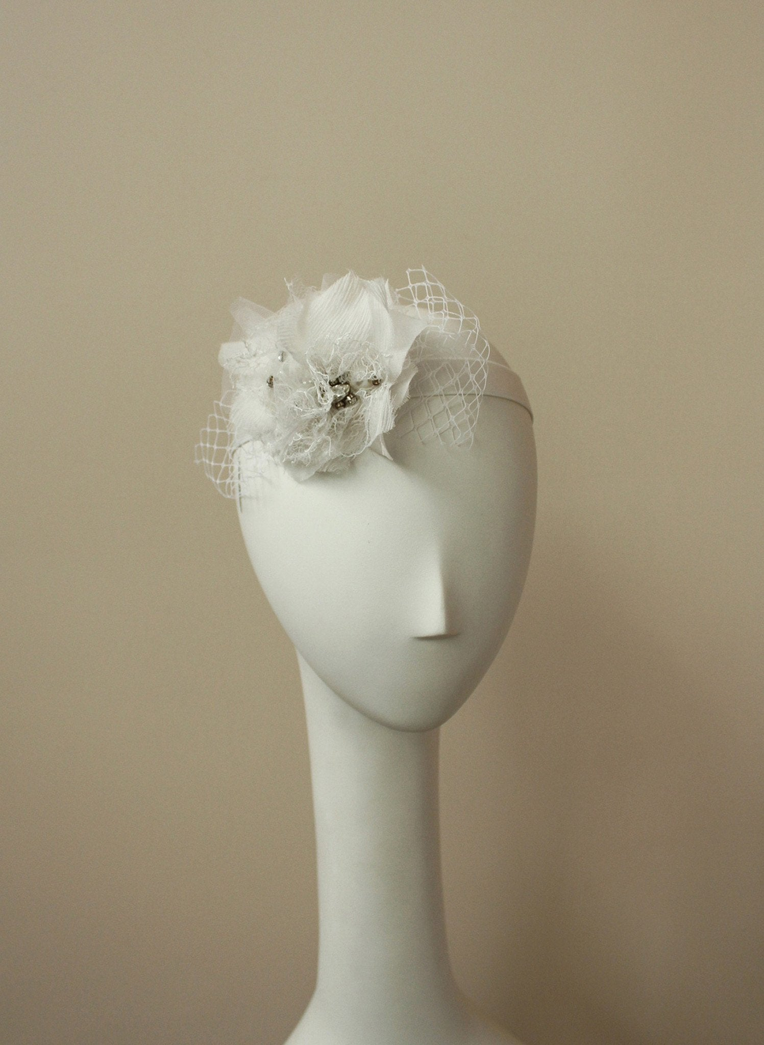 Style: ABBEY Silk & Lace Rosette Embellished Head Band - Peony Rice