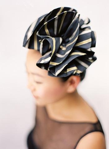 Style: ESTELLE Silk Twill Ruffle Layer Stripe Head Topping - Peony Rice